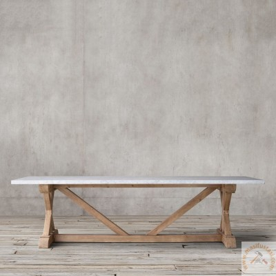 Nihal Beyaz Mermer Tablalı Dikdörtgen Yemek Masası